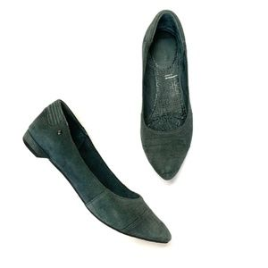 Rockport Deep Teal Suede Ashika Pointed-Toe Flats